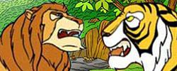 รูปนิทานชาดกเสือพบสิงห์ มาลุตชาดก ว่าด้วยการถือความเห็นตนเป็นใหญ่