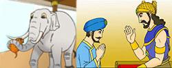 รูปนิทานชาดก อำมาตย์บัณฑิต กับ พระยาช้างต้น  อภิณหชาดก  ว่าด้วยการติดเพื่อน