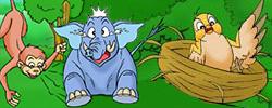 รูปนิทานชาดก สามสหาย ช้าง ลิง นกกระทา ติตติรชาดก ว่าด้วยความเคารพอ่อนน้อม หน้า 2