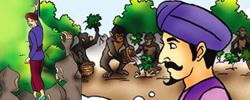 รูปนิทานชาดกลิงอวดฉลาด อารามทูสกชาดก ว่าด้วยความฉลาดในสิ่งไม่เป็นประโยชน์