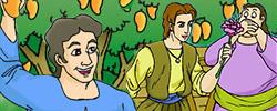 รูปนิทานชาดกพ่อค้าผู้รอบรู้ ผลชาดก ว่าด้วยความสามารถในการดูผลไม้