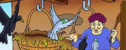 รูปนิทานชาดกนกพิราบกับกาเจ้าเล่ห์ กโปตกชาดก ว่าด้วยความเป็นผู้มีใจโลเล