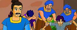 รูปนิทานชาดกมหาอำมาตย์ผู้ทรงปัญญา  มหาสารชาดก  ว่าด้วยต้องการคนที่เหมาะกับเหตุการณ์