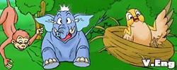 รูปนิทานชาดกสามสหาย ช้าง ลิง นกกระทา ติตติรชาดก ว่าด้วยความเคารพอ่อนน้อม