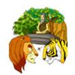 รูปนิทานชาดก เสือพบสิงห์ มาลุตชาดก ว่าด้วยการถือความเห็นตนเป็นใหญ่