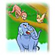 รูปนิทานชาดก สามสหาย ช้าง ลิง นกกระทา ติตติรชาดก ว่าด้วยความเคารพอ่อนน้อม
