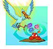 รูปนิทานชาดก นกยางกับปู พกชาดกชาดก ว่าด้วยความเป็นผู้มีใจโลเล