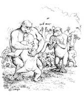 นิทานชากด, ตโยธัมมชาดก, ชาดกว่าผู้มีธรรม ๓ ประการ, ลิง, ยักษ์น้ำ, การ์ตูน