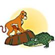 รูปนิทานชาดก พญาวานรกับจระเข้ วานรินทชาดก ว่าด้วยปฏิภาณในการรักษาตัวรอด